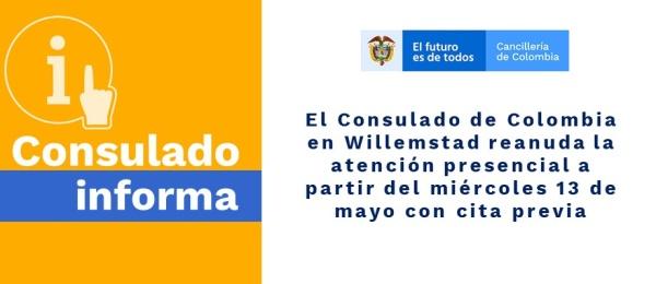 Consulado de Colombia en Willemstad reanuda la atención presencial a partir del 13 de mayo con cita previa