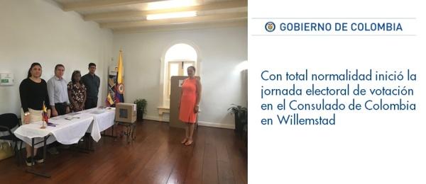 Con total normalidad inició la jornada electoral de votación en el Consulado de Colombia en Willemstad 2018