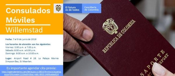 Consulado de Colombia en Willemstad realizará la jornada de Consulado Móvil del 7 al 9 de junio